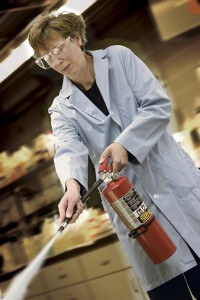 fire extinguisher discharge in lab