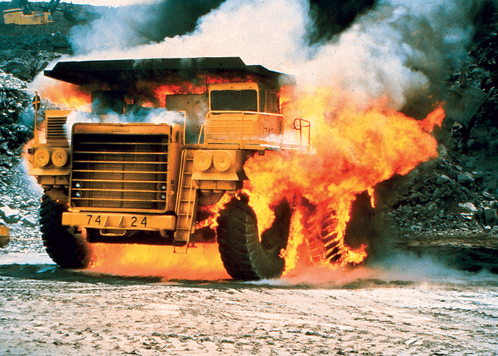mining vehicle on fire