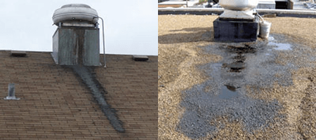 grease running down roof