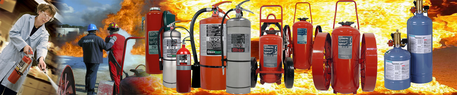 fire safety equipment pictured selection of Ansul fire extinguishers
